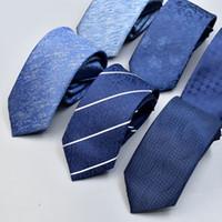 erkekler sıska kravat toptan satış-Önceden bağlı NeckTie Erkek Skinny Fermuar Bağları, Mavi siyah Katı Renk İnce Dar Damat Parti Kravat
