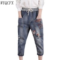 ingrosso i jeans floreali ansimano l'annata-Plus Size 3XL ricamo floreale Donna Denim Harem Lace Up Strappato Vita elastica dei jeans vintage ladies sette punti i pantaloni
