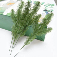 Wholesale pine tree flower resale online - 50pcs Artificial Pine Tree Branches Plastic Pine Leaves for Christmas Party Decoration Faux Foliage Fake Flower DIY Craft Wreath