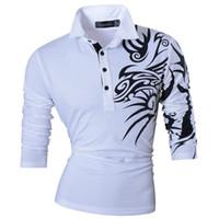 camisas de polo diseñadas al por mayor-Nuevo 2019 Moda Hombre Casual Dragón Estampado Polo Manga larga Camiseta Tee Tops Camisa Slim Trend diseñada 5 colores S M L Xl Xxl U005