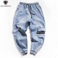 mann cargo jeans hose großhandel-Aolamegs Jeans-Mann-Mode Brief Stickerei Jeanshosen Männer Kordelzug elastische Taillen-Jeans-Hose High Street Cargohose
