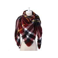 otoño invierno bufandas chales al por mayor-Bufanda de otoño invierno para mujer Bufanda a cuadros clásica Cálido Suave Chunky Manta grande Abrigo Mantón Bufandas