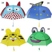 ingrosso ombrello rosa chiaro-Kids Cartoon Sunny Rainy Umbrellas Animali Rana Tigre Pinguino Stampa Poliestere Ombrello Pendente Lungo Manico Ombrello Regali DH1080