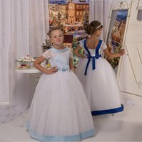 длина пола чисто белые платья оптовых-2020 White Pure Цветочница платье Scoop A-Line длиной до пола, платья Тюль Tank Новый сшитое Симпатичные девушки цветка партии