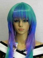 mor mavi karışık peruk toptan satış-WBY Mükemmel Yeşil Mavi Mor Mix LongwavyCosplay Peruk