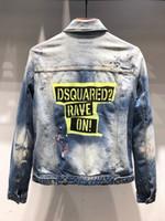 chaqueta de los hombres de vuelta nueva moda al por mayor-19 nueva chaqueta de mezclilla abrigo marea casual lavado azul espalda impresión delgado locomotora moda de gama alta chaqueta de los hombres 717 X23