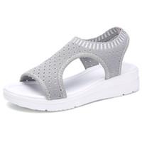 Wholesale women shoe peep toe tie resale online - Summer Women Sandals Plus size Wedge Breathable Mesh Shoes Female Peep Toe Ladies Solid Slip on Comfortable Shoes Ladies