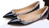 Wholesale valentine flats resale online - 2019 HOT sales Fashion Women Rivet Shoes Flats Genuine Leather Ankle Strap Pointed Toe Studded valentine Shoes Ballerinas ML7