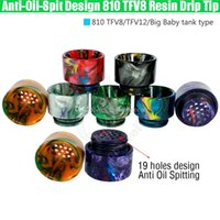 Wholesale Top quality Anti Oil Spitting TFV8 Epoxy Resin Drip Tips Wide Bore Dripper Mouthpiece TFV12 Prince Tank No Spit Vape e cigs Mod RDA RBA