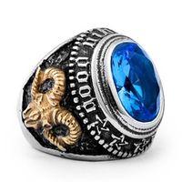 jóias de moda maçônica venda por atacado-Novo Design para homens moda Retro safira Gemstone Sheepshead anel maçônico aço inoxidável 316L jóias presente 7-14