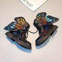 kelebek kanatlı ayakkabılar toptan satış-Kızlar kısa botlar çocuklar stereo kelebek kanatları martin çizmeler marka tasarımcı çocuk ayakkabı yeni kızlar kaymaz ankler açık ayakkabılar F10197 düşmek
