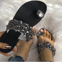 Wholesale heel diamond charm resale online - Spring Summer Fashion Diamond Flat Slippers Women Beach Slippers Crystal Designer Shiny Ladies Sandals Slides Shoes For Wedding