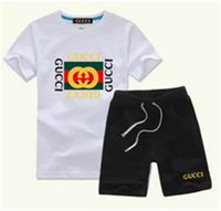 Wholesale novelty baby clothes resale online - 2020 New Baby Boys And Girls Designer T shirts And Shorts Suit Brand Tracksuits Kids Clothing Set Hot Sell Fashion Summer Children s M016