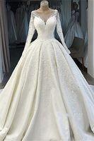 Wholesale sexy wedding dress satin sequins for sale - Group buy Vintage Lace Appliques Scoop Wedding Dresses Long Sleeves Tulle Satin Plus Size Bridal Gowns robes de mariée sirène