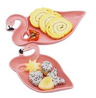 vajilla de porcelana al por mayor-2019 NUEVO 3D Flamingo Pink Juegos de platos de cerámica Platos Platos de decoración Bocadillos Postre de frutas Comida Cena Accesorios de vajilla de porcelana Artículos