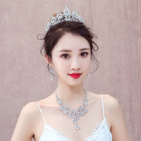 ювелирные изделия оптовых-Silver Wedding Leaf Cubic Rhinestone Necklace Earring and Tiara Crown Jewelry Set for Women