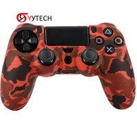 tampa de silicone do controlador ps4 venda por atacado-SYYTECH Preço de Fábrica Camouflage Lidar Com Silicone Caso Não-slip Anti-suor Controlador Caso Capa Para PS4 Slim Pro