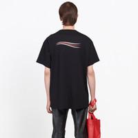tasarımcı erkek gömlekleri yazdır toptan satış-18SS BLCG Dalga Erkek Kadın Yaz Sokak T Gömlek Moda OS BOYUTU Tasarımcı Logo Baskı Kısa Kollu Nefes Rahat Düz Renk Tee HFYMTX185