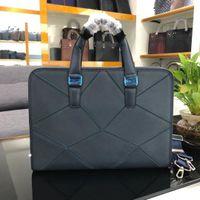 Wholesale europe laptops resale online - hot handbag Europe fashion brand messenger bag men Authentic Quality laptop bag Cowhide Cross pattern backpack File package briefcase
