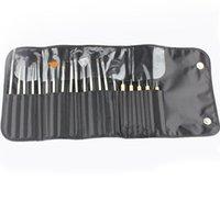 kit de unhas venda por atacado-Prego Brushes Set 20 pc / set Pontilhando Pintura Desenho Caneta Polonês Beleza Kit de Ferramentas com bolsa de couro GGA1787