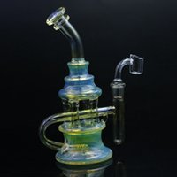 Wholesale colored glass oil bong for sale - Group buy 9inch Silver Fumed Colored Dab Oil Rigs Heady Glass Bong with MM Quartz Banger Nail Recycler Oil Bubbler Cyclone Perc Glass Water Pipe