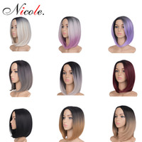 Wholesale black women full wigs for sale - Group buy Short Straight BOB Wigs Omber Hair Women Bob Style Full Head Wig g Pack Synthetic Real Thick Black Brown Blonde Hair