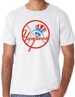 бейсбольная футболка печать оптовых-Ny Yankees Baseball T Shirt Top Tee Унисекс Front Logo Прохладный Hipster Классический Подарок для печати T-Shirt, Hip Hop Tee Shirt, тройники Новые прибытия