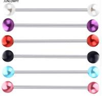 ingrosso i monili sexy del corpo delle donne-Orecchino industriale per orecchini a sfera in acciaio inossidabile con perla e sfera in acrilico per le orecchie 14G per gli uomini donne sexy