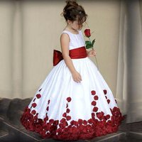 Wholesale chiffon communion dresses resale online - Cute Flower Girl Dress Girls Lace Chiffon Sequined Sleeveless Elegant Pageant for Wedding Party Dresses with sash SZ