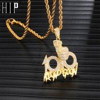 ingrosso strass di corda-Collane pendenti ghiacciate piene hip-hop della collana della catena del rhinestone della pistola 100 della collana di Bling 100 per i gioielli degli uomini Dropshipping