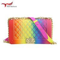 Wholesale beige color slippers for sale - Group buy Female purse rainbow color jelly shoulder diagonal chain bag PVC big purses summer new fashion popular bag with slippers women