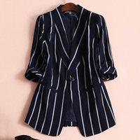 kadın ceketler ücretsiz gönderim toptan satış-2019 Kadınlar Küçük Takım Dikey Çizgili Takım Elbise Rahat Üstleri Kadın Uzun Kollu Ceket L-5XL Ücretsiz Kargo