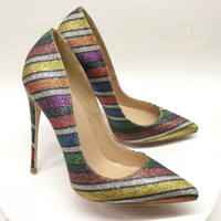 свадебные сапоги оптовых-Бесплатная доставка моды для женщин насосы многоцветный блеск стразы острым носом на высоких каблуках сандалии обувь сапоги невесты свадебные туфли 120 мм 100 мм 8 см