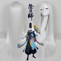 ingrosso capelli lunghi anime cosplay-Onmyoji Silver White 100cm Lunga Parrucca Cosplay Parrucca sintetica Halloween Party Party Gioca Parrucca Fibra ad alta temperatura