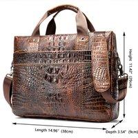 2021 Men's Briefcase Crocodile Pattern Cowhide Leather Briefcases Male Shoulder Bag Commercial Business Office Bags for Men 5555