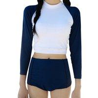 marineblauer badeanzug großhandel-Frauen surfen badeanzüge langarm sunscreen badeanzüge zweiteilige hohe taille bikini set bademode weibliche badeanzug marineblau