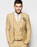 Wholesale burgundy skinny suit for sale - Group buy Wedding Super Skinny Fit Camel Man Groom Tuxedos Suit Custom Made Tuxedos Groomsman Suit Dinner Suit Jacket Pants Vest tie CY016