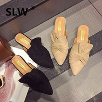 chaussures de glisse de la marque coréenne achat en gros de-style coréen bout pointu arc bas talon mules femmes marque printemps chaussure bouche peu profonde mocassins paresseux femme confortable décontracté slip sur