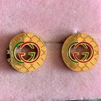 kabuk takı tasarımları toptan satış-Yüksek kalite marka Tasarım paslanmaz çelik kızlar Kadınlar partisi yaz Takı altın gümüş 18 K altın kırmızı yeşil çift mektubu Saplama Küpe