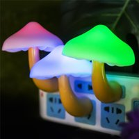 Wholesale wall socket lamp resale online - Mushroom Night Light LED Lamp Child Gifts Baby Warm Lamp Room Lighting Wall Socket Light Home Bedroom