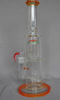 High Quality 14.5inch Straight Import Colored Glass Bong Water Pipe with Tree percolators 18.8mm joint with bowl or quartz banger
