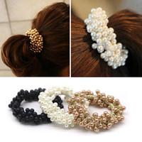 ingrosso supporto in ponytail elastico strass-1pcs donne strass di cristallo perla fascia per capelli corda elastica ponytail holder accessori per capelli per cravatte hairbands bun maker