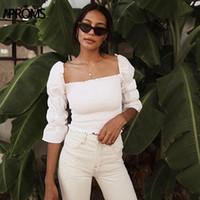 weiße, hochhalsige bluse großhandel-Aproms Vintage Square Neck Smocked Bluse Shirt Damen Puffed 3/4 Ärmel Weiß Crop Top Sommer High Street Slim Bluse Blusa 2019 MX190710