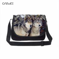 Wholesale large cooling bag for sale - Group buy Large Canvas Messenger Bags Cool Wolf Men s Crossbody Bag Animal Print Teenager School Laptop Shoulder Bag Casual Travel