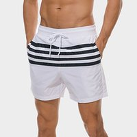 homens branco quente breve venda por atacado-2019 New Sexy Branco Swimsuit Homens Maillot De Bain Quente Listrado Impresso Troncos de Natação Dos Homens de Alta Elastic Surf Beach Shorts Briefs
