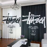 janelas de escritório venda por atacado-Design de moda marca cortina preto branco cortinas assimétricas 2 pcs carta impressão de janela tratamentos quarto escritório cortina