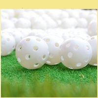 agujero de bola de plástico al por mayor-Pgm 2Pcs Pelotas de golf de plástico Flujo de aire al aire libre Hueco con agujero Bolas de práctica de golf 2 colores Competición de entrenamiento D0715