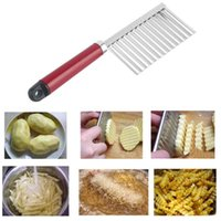 Wholesale new potato slicer resale online - New Potato Knife Stainless Steel Potato Chip Dough Vegetable Crinkle Wavy Cutter High Quality Slicer Fruits Knife Food good quality