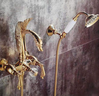 Golden wall mounted swan handles swan Bath Tub shower Filler Faucet with Handshower 2 Holes New