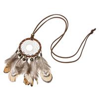 indische traumfänger halsketten großhandel-Neue DIY Retro Handgemachte Dreamcatcher Federn Mit Perle Lange Halskette Indian National Bell Feather Dream Catcher Halskette